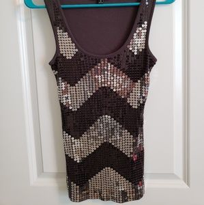 Charcoal gray sequin tank top